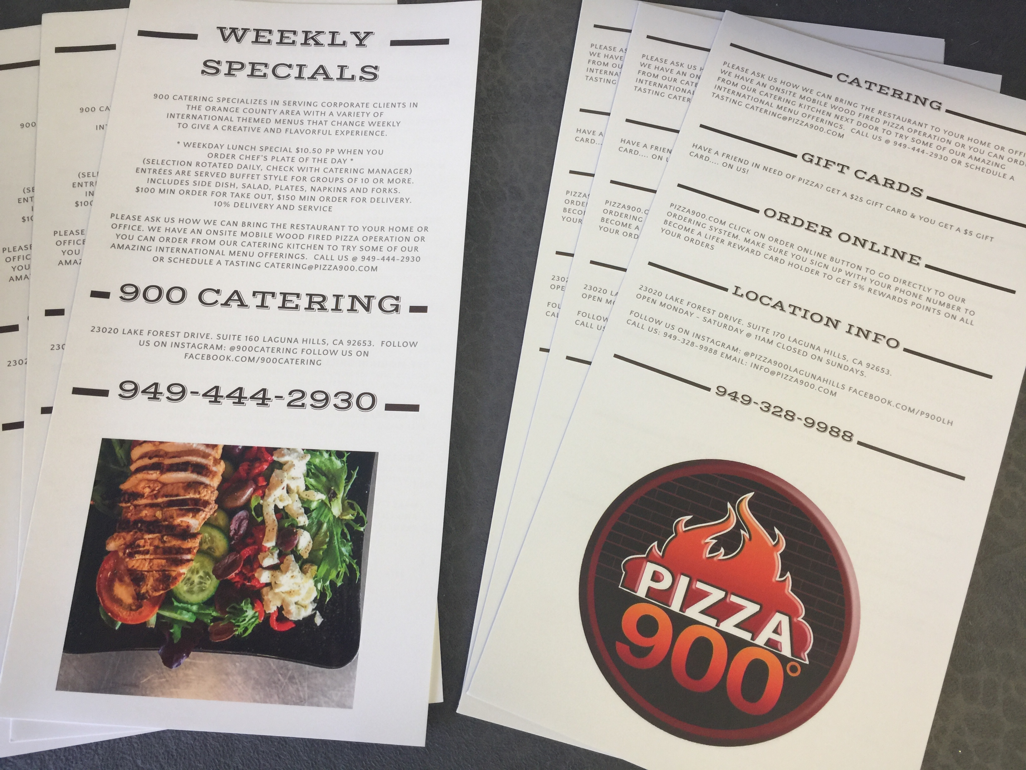 Pizza 900 Menu Printing Laguna Hills California
