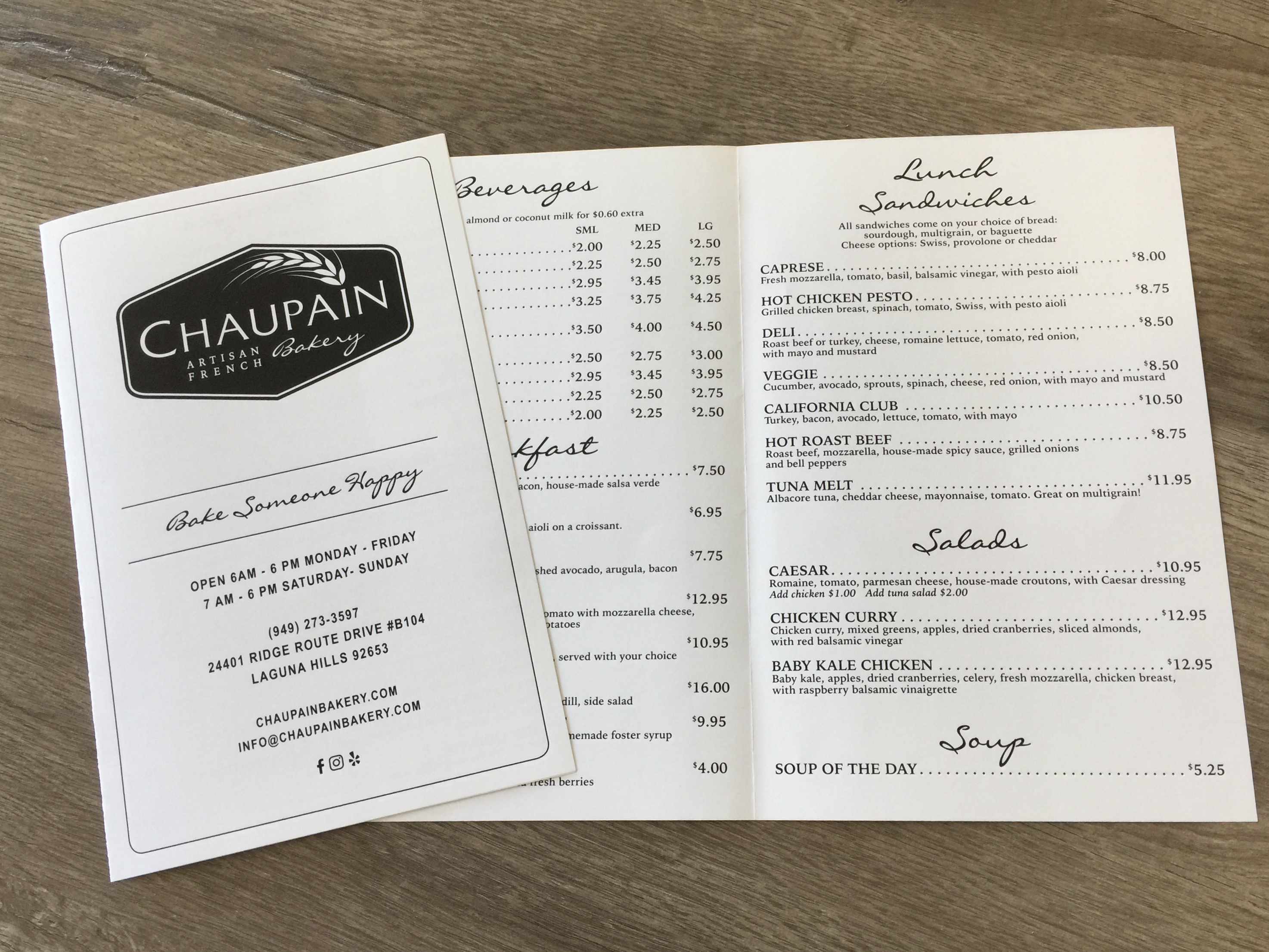 Restaurant Menu Printing Chaupain Bakery Laguna Hills Carlifornia