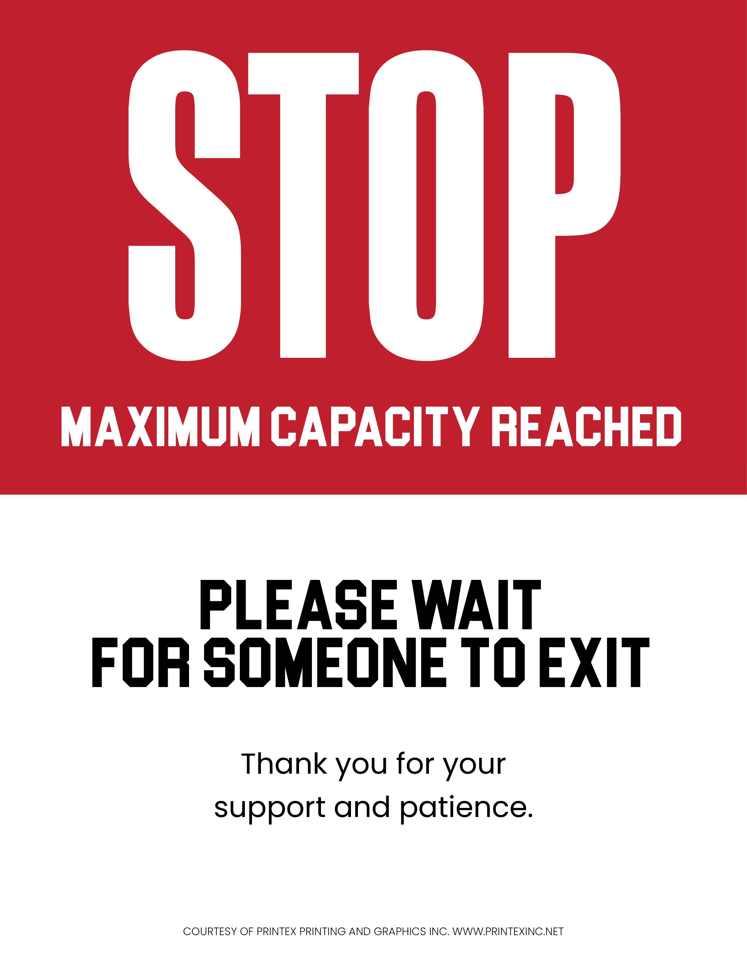 Stop Maximum Capacity Reached Sign